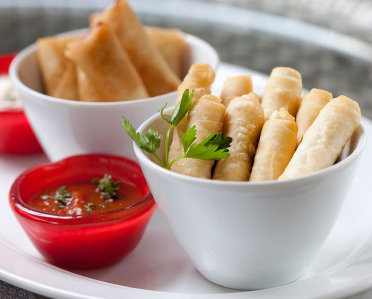 Spring rolls and Sigara Börek with cheese, clotted yogurt and sweet chili sauce
