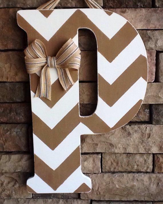Chevron Wooden Letter, Large Wooden Letter, Door Hanger, Wedding Gift