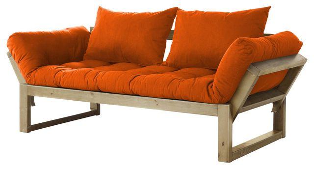 Edge Convertible Futon Sofa Bed Natural Frame Orange