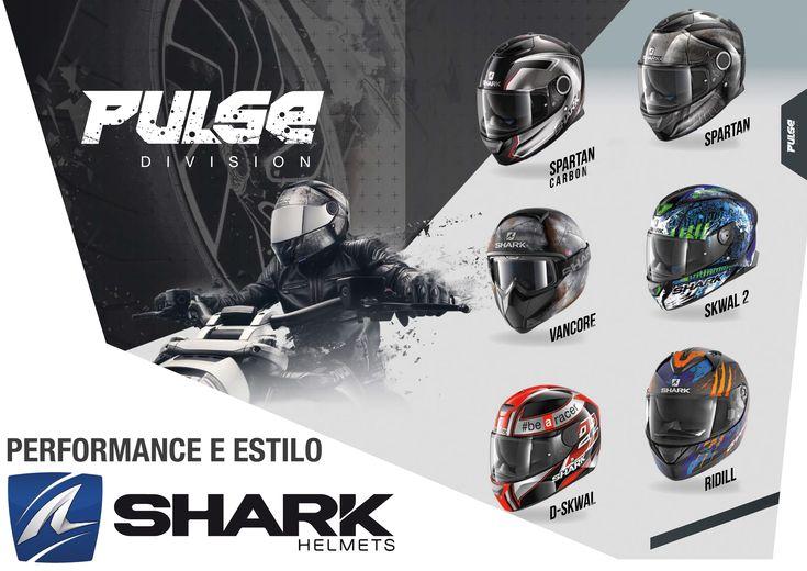 SHARK | Pulse Division - Performance e estilo! A Pulse Division é composta pelos seguintes capacetes:  - SPARTAN & SPARTAN CARBON; - VANCORE; - SKWAL 2; - D-SKWAL; - RIDILL. Qual gosta mais?  #shark #pulsedivision #spartan #spartancarbon #vancore #skwal2 #dskwal #ridill #lusomotos #qualidade #segurança #moto #estrada #estilodevida #capacetes #andardemoto