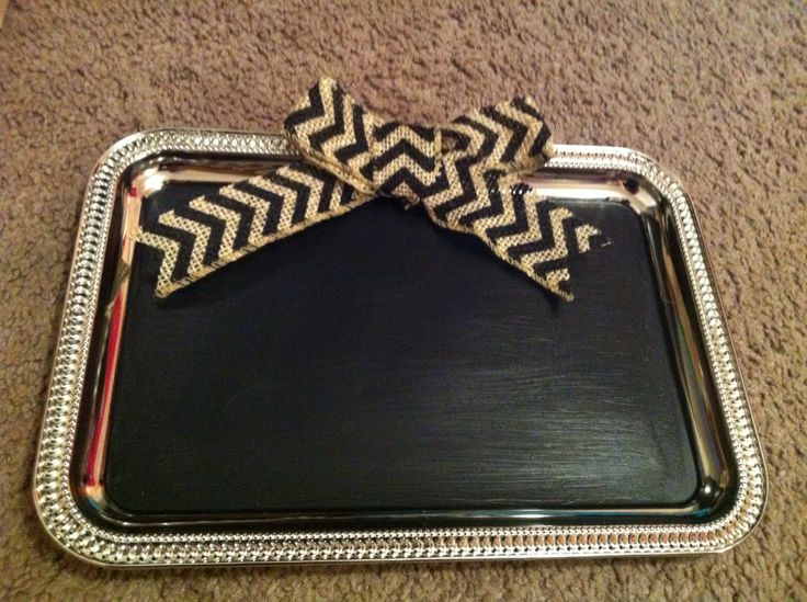 Chalkboard trays! Tin trays from the dollar tree