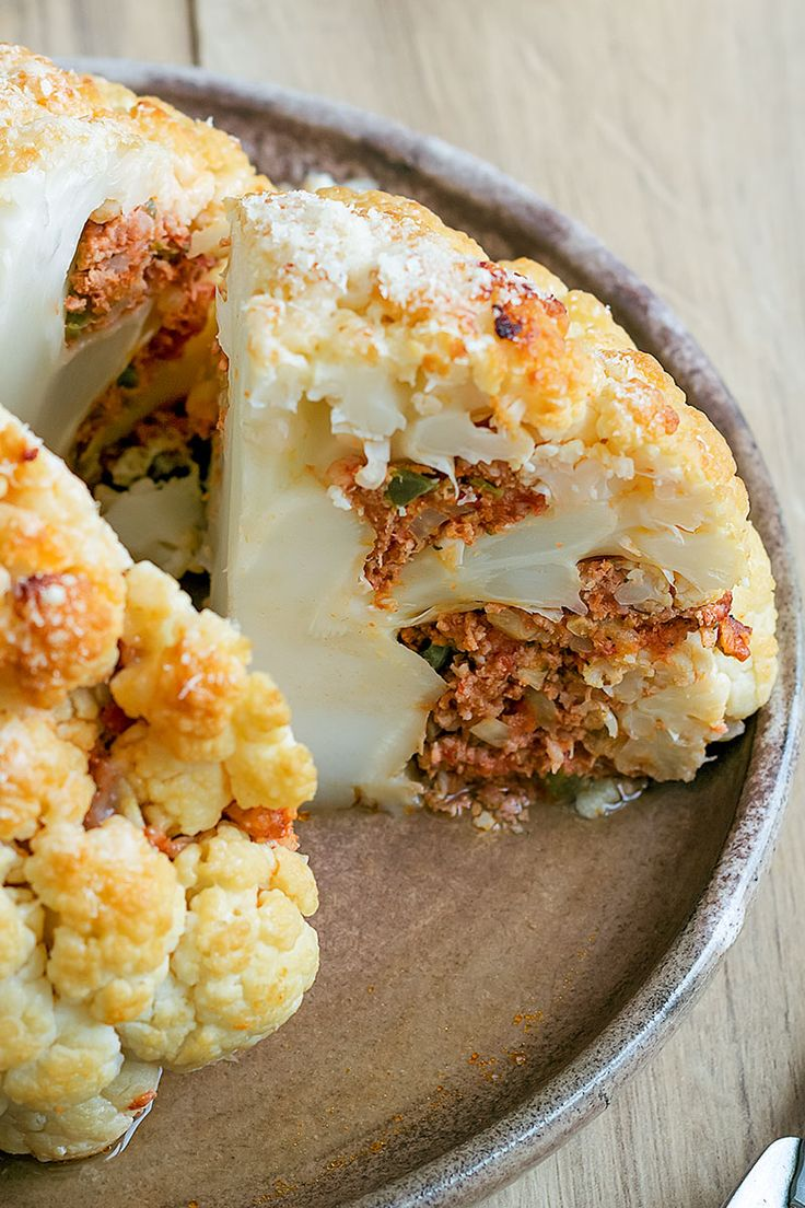 Stuffed Whole Cauliflower with Beef and Cheese – A filling main course that's packed with flavor.