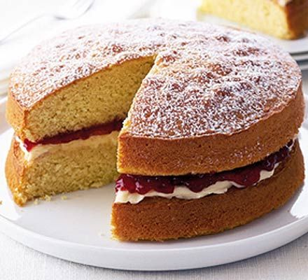 Classic Victoria sandwich. You can't go wrong with this perfect party cake - full of spongey goodness. Makes a super-simple wedding cake, too
