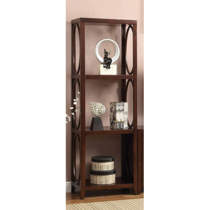 Furniture of America 4-Shelf Media Tower with Oval Shape Frame - Cherry - IDF-5051-PC