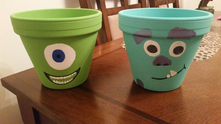 Mike & Sully Flower Pots!! Handpainted with acrylic paint for outdoor or indoor purposes. Perfect for the Disney Lover we all are :)