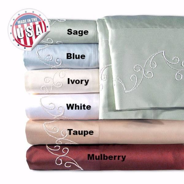 Egyptian Cotton Sheet Set with Embroidered Pattern