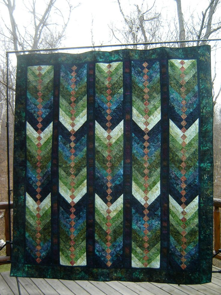 "Batik French Braid 80""x98"" quilt. I like the color scheme and all the braids going in the same direction."