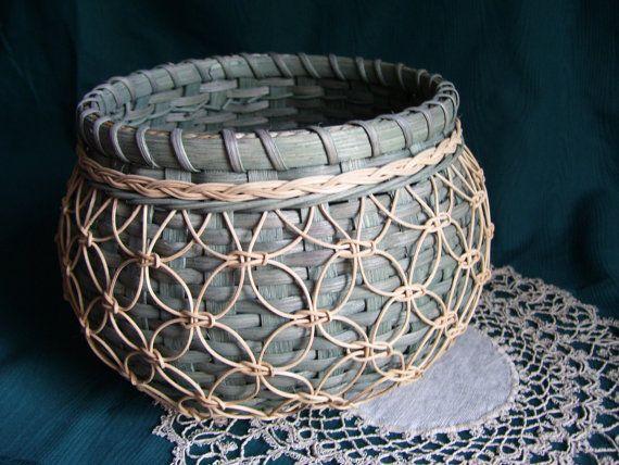Dark Green Knotwork Cat's Head Basket by fredasbaskets on Etsy, $38.00