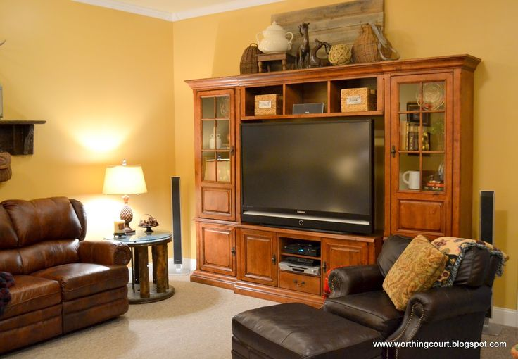 Decorating Your Basement | Rustic entertainment center via Worthing Court blog