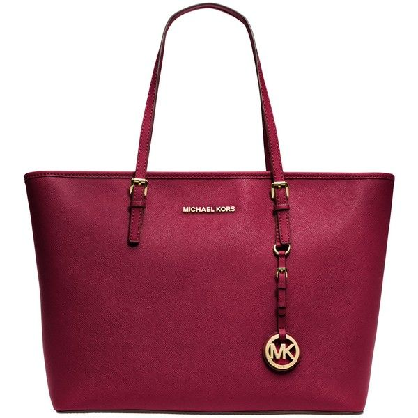 MICHAEL Michael Kors Jet Set Travel Top Zip Leather Tote , Cherry (3 445 SEK) ❤ liked on Polyvore featuring bags, handbags, tote bags, cherry, leather purse, leather handbags, leather key ring, metallic leather tote and purple leather handbag