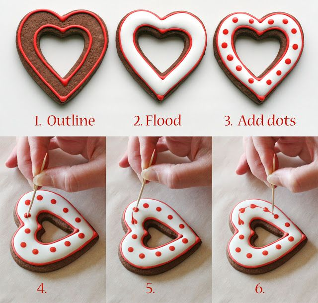 Simple Heart Valentine's Cookies {Decorating how-to} » Glorious Treats