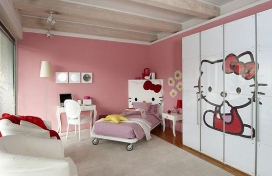 White wardrobe Hello kitty bedroom furniture