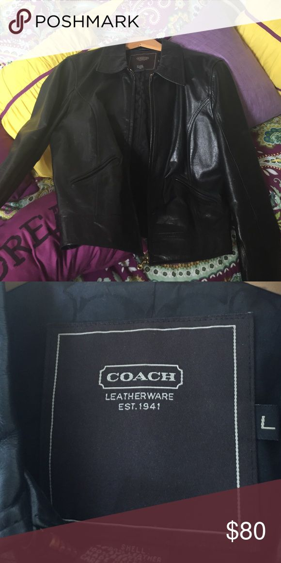 Coach leather jacket for sale Only wore once Coach Jackets & Coats