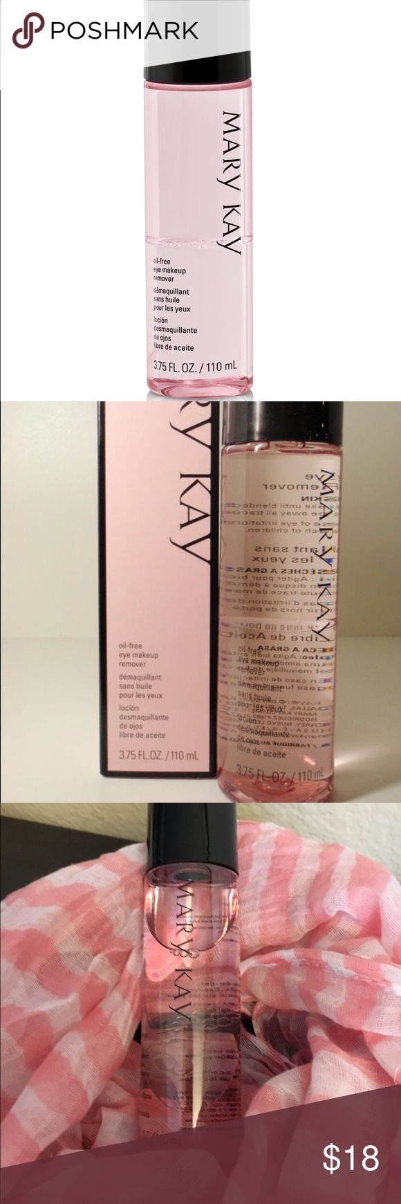 Mary Kay oil-free eye makeup remover NEW (no box) Mary Kay oil-free eye makeup remover. Buy as a set and save!!  Eye Makeup Remover for $18, Moisturizer and 3-in-1 Cleanser for $35, Moisturizer, Cleanser and Eye Makeup Remover for $50 Mary Kay Makeup