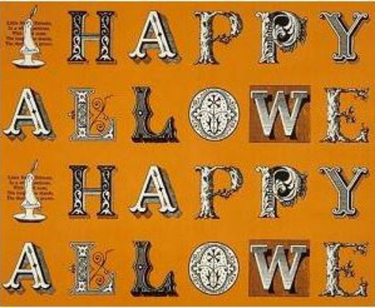 PANEL Sew Scary - Black Old Fashion Fonts Halloween Letters on Orange (2 repeats) Q 23859-O
