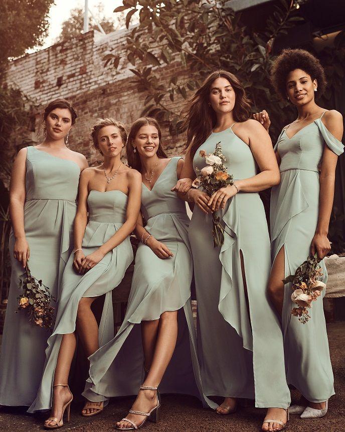 How to find Bridesmaid Dresses that Look Good on Everyone - David's Bridal Blog | Bridesmaid dresses dusty sage, Green bridesmaid dresses, Sage bridesmaid dresses