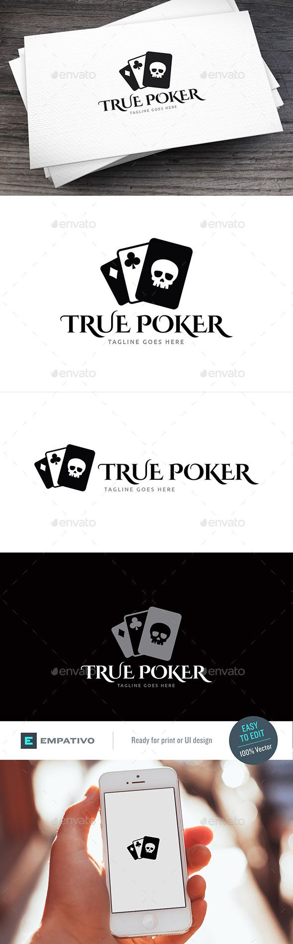 True Poker Logo Template by empativo Modern, versatile and stylish logo template. Ideal for a wide range of uses. Features  100% vector. Easy to edit color / text