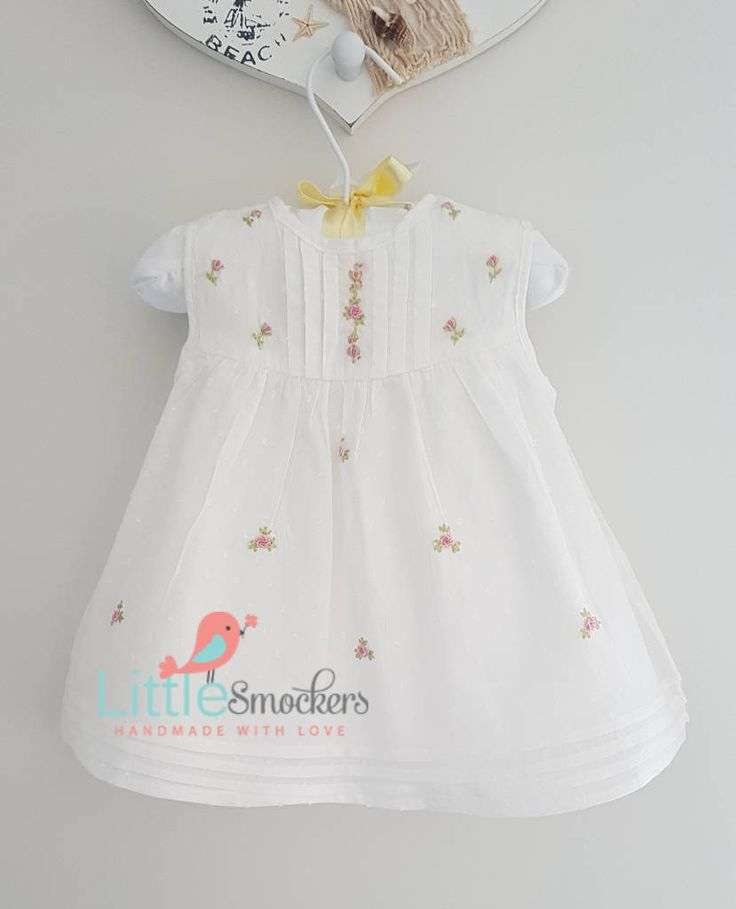 White spot voile beautiful hand embroidered baby dress - 0-3 months by LittleSmock on Etsy