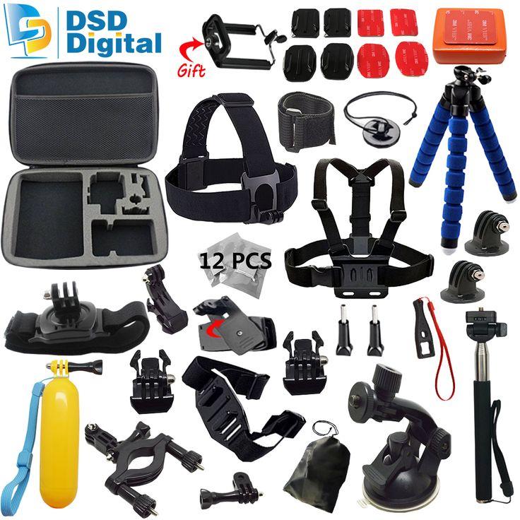 SAQN for Gopro accessories set go pro kit mount for SJ4000 gopro hero5 4 3 2 Black Edition SJCAM camera case xiaoyi chest tripod //Price: $0.00//     #Gadget