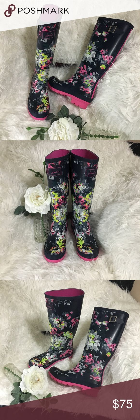 Brand new with stickers Joules Wellies Gorgeous navy and floral matte Wellies with a pink stripe to accent the back as well as the sole of the boot. Has stickers but not tags these are from Nordstrom and has the original Joules inside stickers that show they are UK 5 so they convert that to US 7. Wellies are meant to run big as you wear with thick socks!!! Side of Rain Boots have a silver buckle to tighten or loosen to help with desired calf fit. Gorgeous unique print! This screams Pinterest…