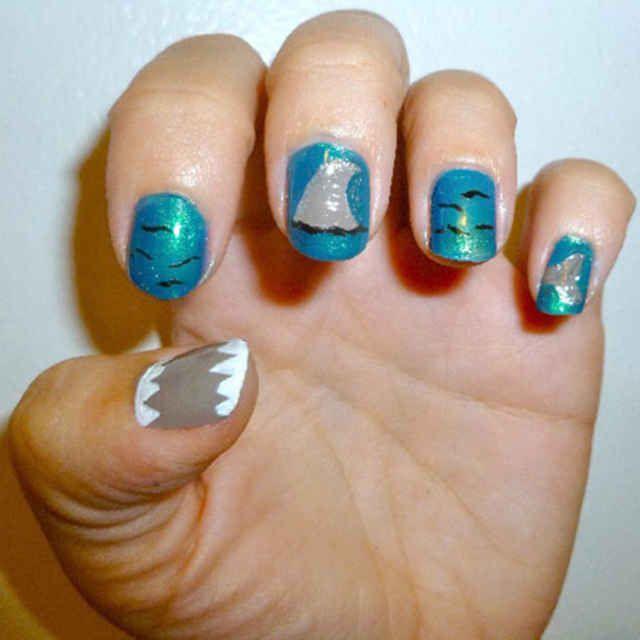 The 25 best shark nail art ideas on pinterest beach nail art tutorial shark week nail art prinsesfo Images
