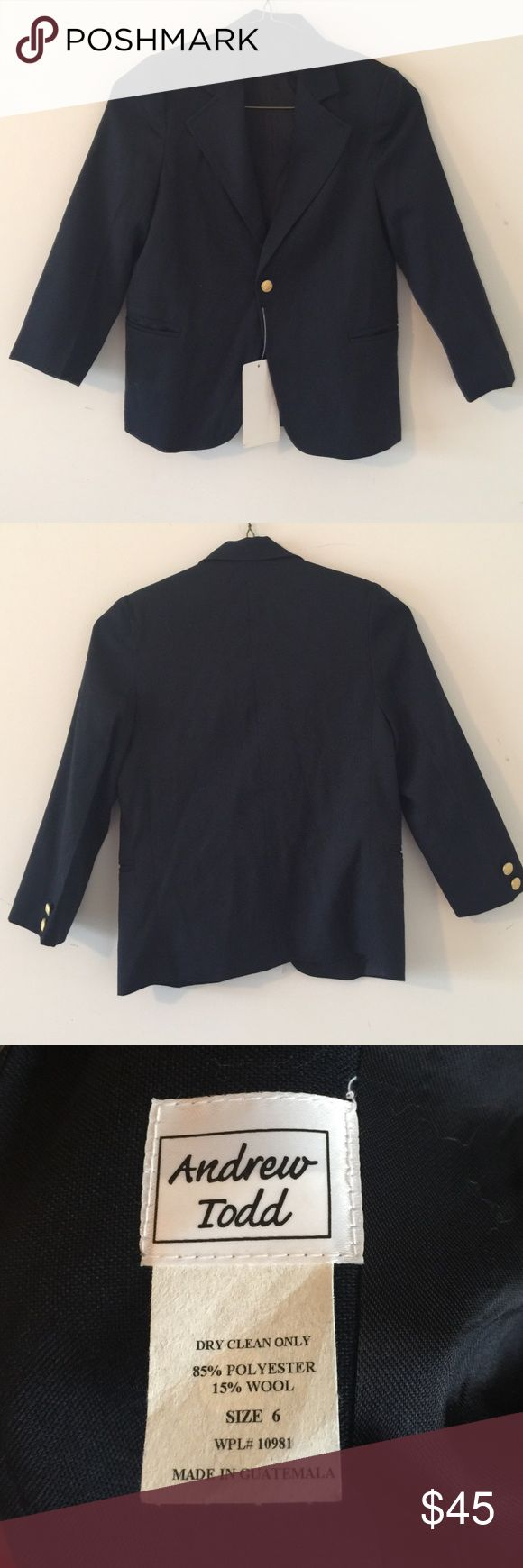 """Andrew Todd Navy Youth Boy Blazer Andrew Todd Navy Youth Boy Blazer. Size 6 & 8. Sleeve Length 16"""", Bust 14.5"""", Shoulder 12"""", Length 20"""".  Dry Clean Only. Andrew Todd Jackets & Coats Blazers"""