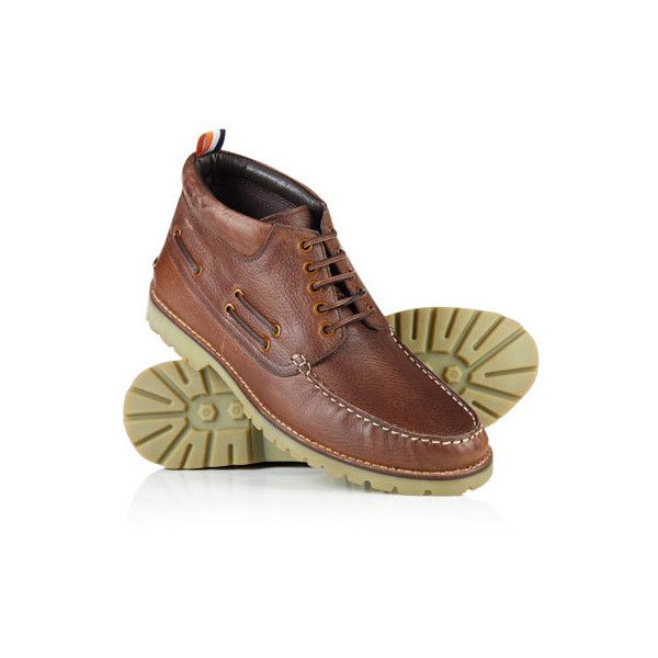 Superdry Brad Boat Boot ($85) ❤ liked on Polyvore featuring men's fashion, men's shoes, men's boots, brown, mens brown shoes, mens brown boots, mens boots, mens shoes and colorful mens shoes