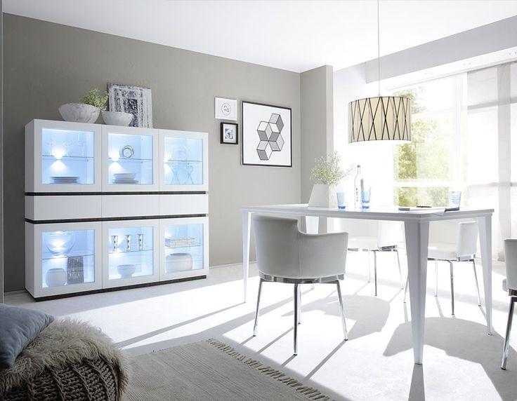 Salle manger compl te moderne blanc ou gris laqu mat for Salle a manger complete blanc laque