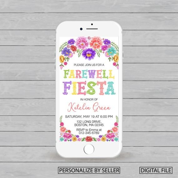 Electronic Mexican Farewell Fiesta Invitation, Farewell
