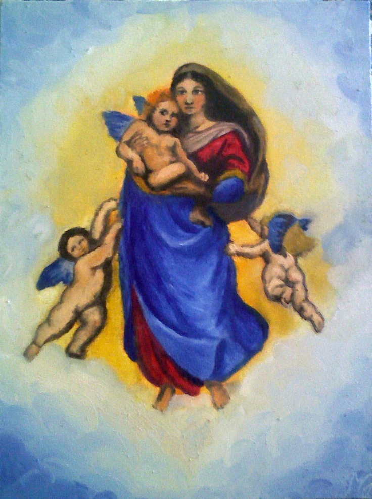 "Oil painting, ""Maria and Angels"""