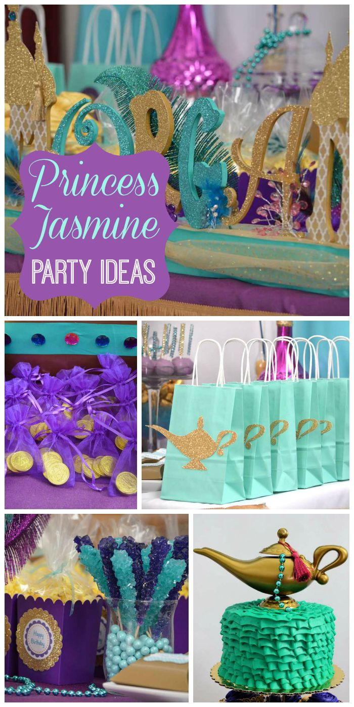 A jewel toned Princess Jasmine girl birthday party with amazing party decorations!  See more party planning ideas at CatchMyParty.com!