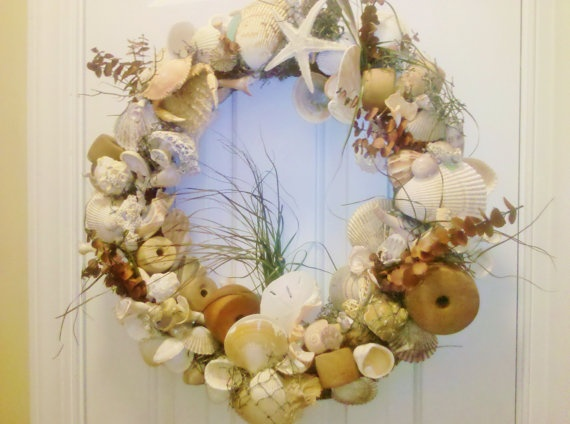 Seashell Nautical Beach Wreath with Sea Glass Fishing Net Corks and Sea Grass
