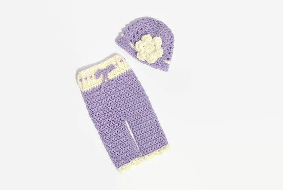 Newborn Girl Pants and Hat Baby Girl Hat & by DeesCozyCreations