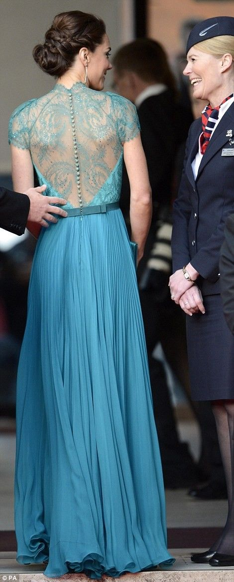 The back + the color Kate Middleton in turquoise gown by Jenny Packham
