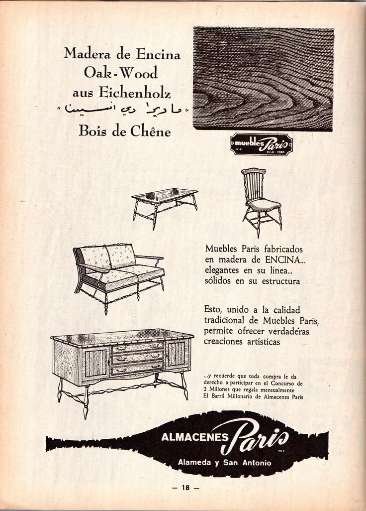 Muebles París. Desde 1901. Madera de Encina Oak - Wood aus Eichenholz Bois de Chêne. Almacenes París. Alameda y San Antonio. Publicado en Revista ZIG - ZAG N°2844 de octubre de 1959.