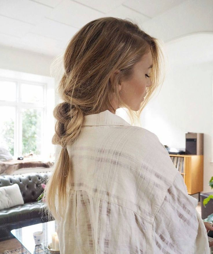 Loose, messy braid for long hair.