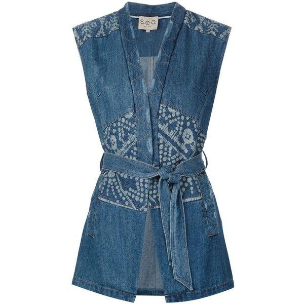 Sea patchwork denim vest ($730) ❤ like…