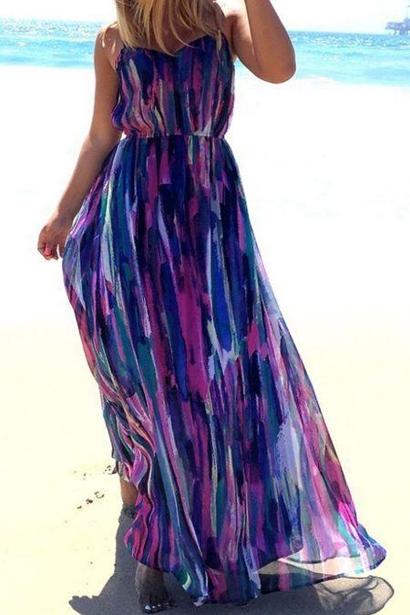 Spaghetti Strap Color Block Print Maxi Dress