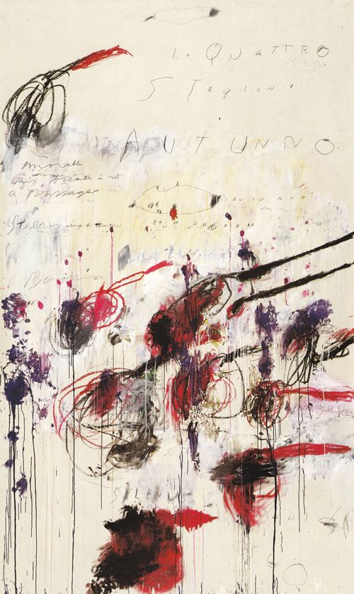 QUATTRO STAGIONI, PART III: AUTUNNO, 1993-94. / SYNTHETIC POLYMER PAINT, OIL, HOUSE PAINT, PENCIL AND CRAYON ON CANVAS 313.7 X 189.9 CM.