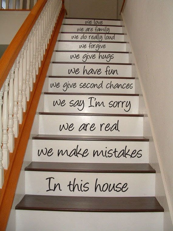 In this house - STAIR CASE - Art Wall Decals Wall Stickers Vinyl Decal Quote