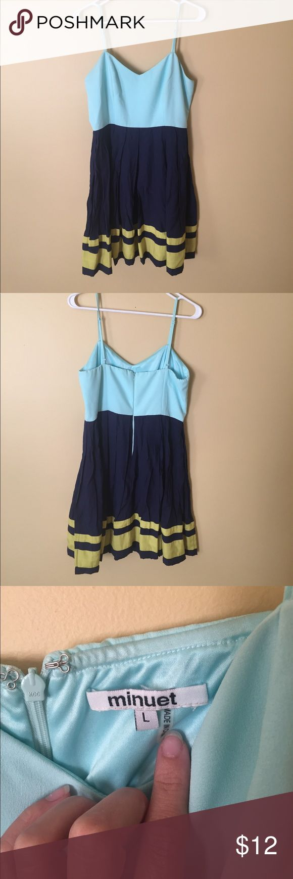 Dress by minuet, size large, color block pattern Wore this dress once to a wedding at a yacht club, excellent condition, smoke-free home, fun colors with light real on top with navy and a stripes of yellow on the bottom Minuet Petite Dresses Midi