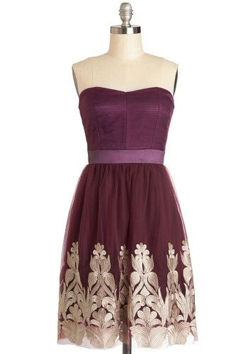 Nom de Plum Dress - Knit, Woven, Short, Purple, Gold, Embroidery, Cocktail, A-line, Strapless, Better, Sweetheart, Party, Holiday Party