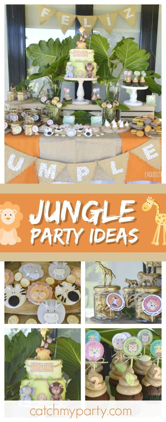 Don't miss this fun Jungle birthday party! The birthday cake is wonderful!! See more party ideas and share yours at CatchMyParty.com