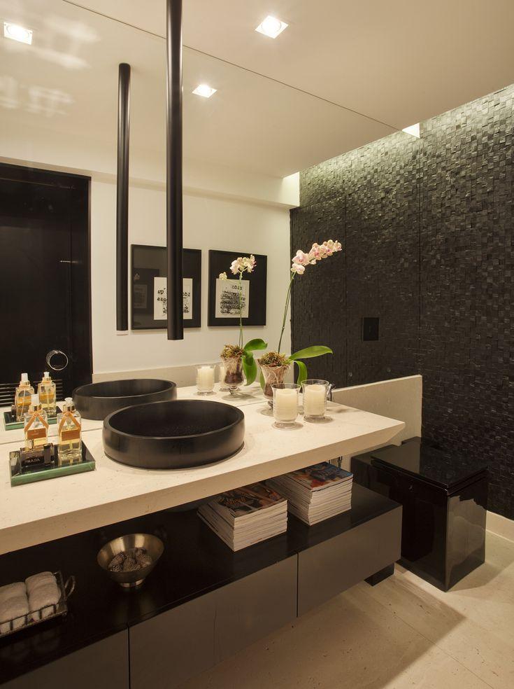 Decoração de: Lavabo - cuba preta; Casa de Valentina