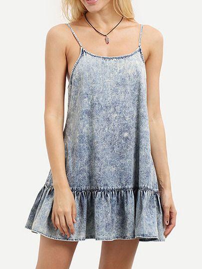 Vestido tirante fino sin espalda volantes -azul