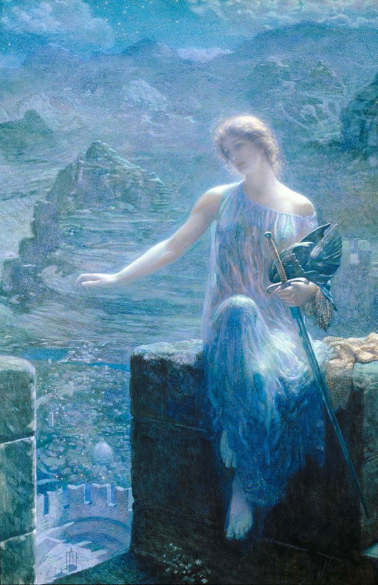 The Valkyries Vigil By Edward Robert Hughes Before 1915 Depicts Dreadful Norse War Goddess In An Ethereal Fairy Painting Barefoot