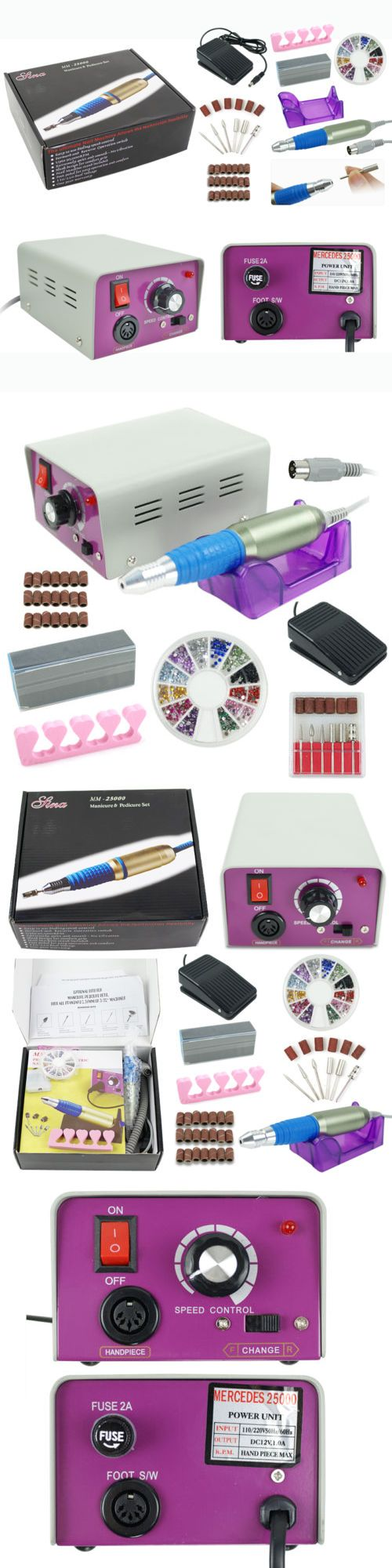 Electric Files and Tools: Complete Electric Nail File Acrylic Pedicure Drill Sand Machine Kit Band Set New BUY IT NOW ONLY: $32.01