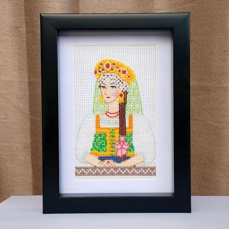 Russian Girl Finished Cross Stitch, Wall Art, Ready To Frame, Folk Costume, Traditional Clothes, Sarafan Dress, Brown Hair Braid, Green Gold by LakeviewNeedlework on Etsy