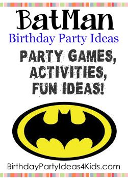 Batman Party Ideas! Fun ideas for a Batman theme birthday party for kids.   Batman theme party games, activities, party food ideas, icebreaker game, decoration and invitation ideas.  For kids, tweens and teens ages 1, 2, 3, 4, 5, 6, 7, 8, 9, 10, 11, 12, 13, 14, 15, 16, 17 and 18 years old.http://www.birthdaypartyideas4kids.com/batman-party.html