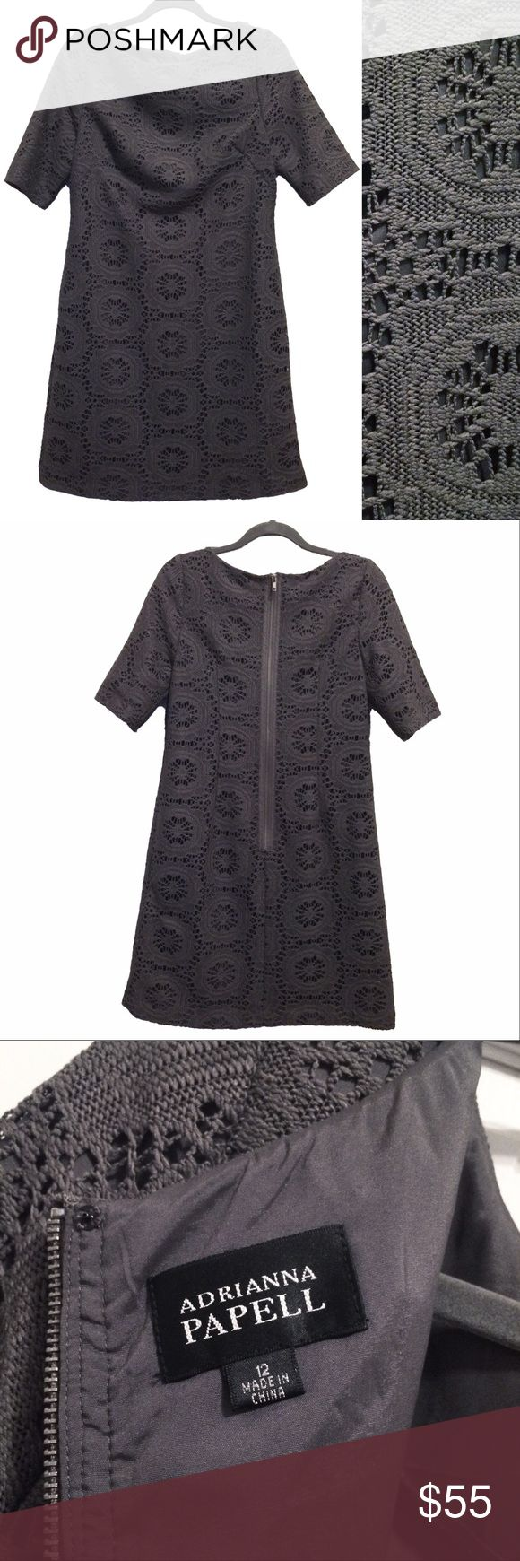 "Adrianna Papell crochet / lace shift dress Dark warm grey / charcoal crochet / lace dress with liner. Professional and stylish. Circa 2010/2011. Model pic from Nordstrom website to show drape and fit only. No stretch to thick fabric. Minor pull but easy fix/not visible when worn. (see pic) Short sleeves, darts on chest for a fitted look to chest. Perfect for work. Lay flat measures approx: pit to pit 18.5"", waist 20.5"", neck 10.5"", length 36.5"", arms 5"" Adrianna Papell Dresses"
